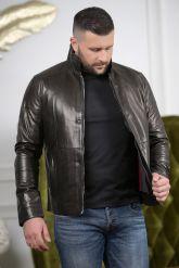 Короткая мужская куртка кожаная с планкой. Фото 2.
