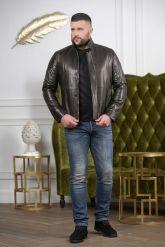 Короткая мужская куртка кожаная с планкой. Фото 3.