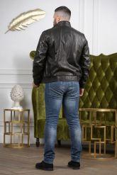Бомбер кожаный мужской. Фото 1.