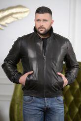 Мужская кожаная куртка на резинке с воротником. Фото 4.
