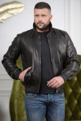 Мужская кожаная куртка на резинке с воротником. Фото 6.