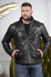 Стильная мужская кожаная куртка с карманами. Фото 4.