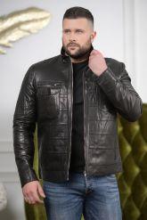 Стильная мужская кожаная куртка с карманами. Фото 5.