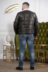 Кожаный пуховик для мужчин. Фото 1.