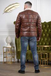 Мужской кожаный пуховик цвета виски. Фото 1.