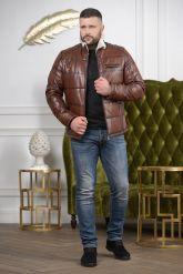Мужской кожаный пуховик цвета виски. Фото 2.
