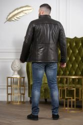 Мужской кожаный пуховик черного цвета 2019. Фото 7.