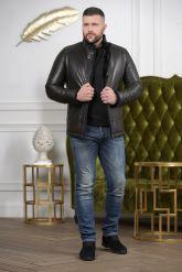 Мужской кожаный пуховик черного цвета 2019. Фото 1.