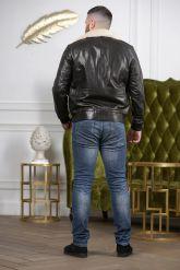 Стильный кожаный пуховик на резинке. Фото 1.