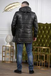 Удлиненный кожаный пуховик для мужчин. Фото 1.