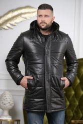 Удлиненный кожаный пуховик для мужчин. Фото 3.
