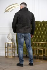 Мужская дубленка из замша черного цвета. Фото 1.