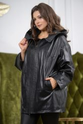 Женская кожаная куртка больших размеров с капюшоном. Фото 4.
