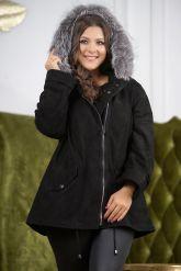 Замшевая куртка с мехом чернобурки. Фото 5.