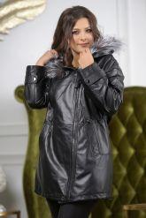 Удлиненная кожаная куртка больших размеров на кулиске. Фото 6.