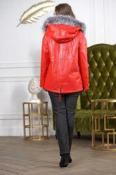 Утепленная кожаная куртка больших размеров кораллового цвета. Фото 1.