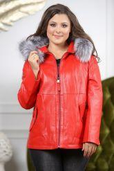 Утепленная кожаная куртка больших размеров кораллового цвета. Фото 4.
