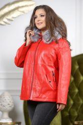 Утепленная кожаная куртка больших размеров кораллового цвета. Фото 5.