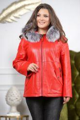 Утепленная кожаная куртка больших размеров кораллового цвета. Фото 6.