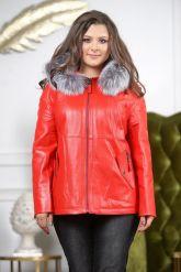 Утепленная кожаная куртка больших размеров кораллового цвета. Фото 7.
