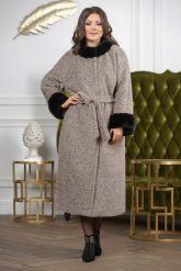Женское пальто больших размеров с отделкой из меха норки. Фото 2.