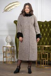 Женское пальто больших размеров с отделкой из меха норки. Фото 5.