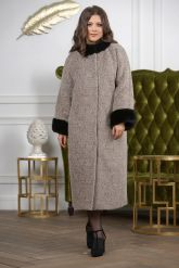 Женское пальто больших размеров с отделкой из меха норки. Фото 7.