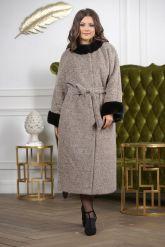 Женское пальто больших размеров с отделкой из меха норки. Фото 8.