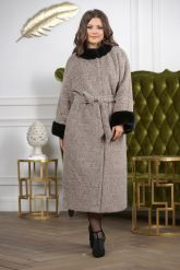 Женское пальто больших размеров с отделкой из меха норки. Фото 9.