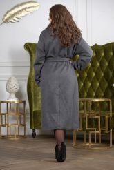 Длинное пальто с мехом чернобурки. Фото 1.