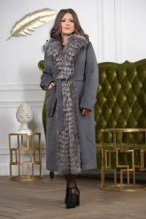 Длинное пальто с мехом чернобурки. Фото 2.
