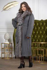 Длинное пальто с мехом чернобурки. Фото 4.