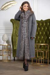 Длинное пальто с мехом чернобурки. Фото 7.