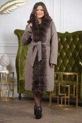 Женское пальто больших размеров с меховой опушкой. Фото 3.