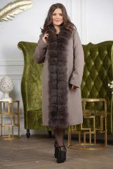 Женское пальто больших размеров с меховой опушкой. Фото 4.