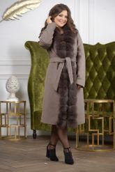 Женское пальто больших размеров с меховой опушкой. Фото 5.
