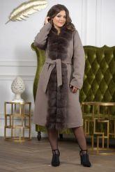 Женское пальто больших размеров с меховой опушкой. Фото 6.