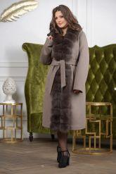 Женское пальто больших размеров с меховой опушкой. Фото 8.