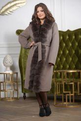 Женское пальто больших размеров с меховой опушкой. Фото 9.