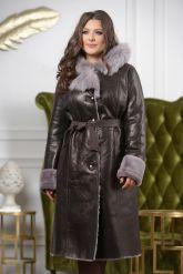 Зимнее пальто из овчины с капюшоном. Фото 4.