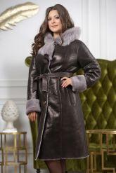 Зимнее пальто из овчины с капюшоном. Фото 5.