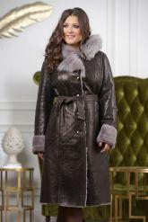 Зимнее пальто из овчины с капюшоном. Фото 7.