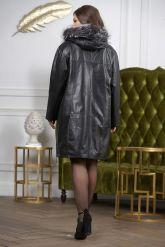 :Женская кожаная куртка с мехом чернобурки удлиненная. Фото 1.