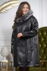:Женская кожаная куртка с мехом чернобурки удлиненная. Фото 3.