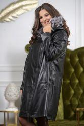 :Женская кожаная куртка с мехом чернобурки удлиненная. Фото 4.