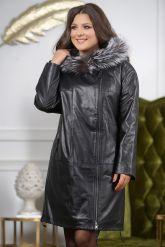 :Женская кожаная куртка с мехом чернобурки удлиненная. Фото 5.