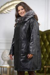 :Женская кожаная куртка с мехом чернобурки удлиненная. Фото 6.