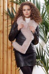 Женская кожаная куртка с мехом - автоледи. Фото 4.
