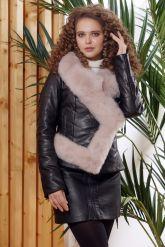 Женская кожаная куртка с мехом - автоледи. Фото 5.