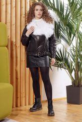 Утепленная кожаная куртка с мехом. Фото 1.